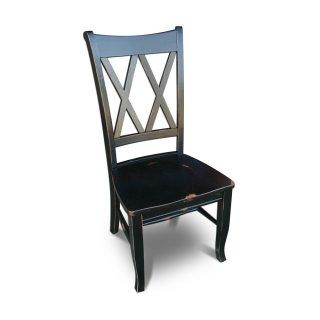 Double X Back Antique Black Chair