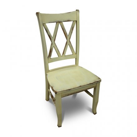 Double X Back Chair Wicker Cream