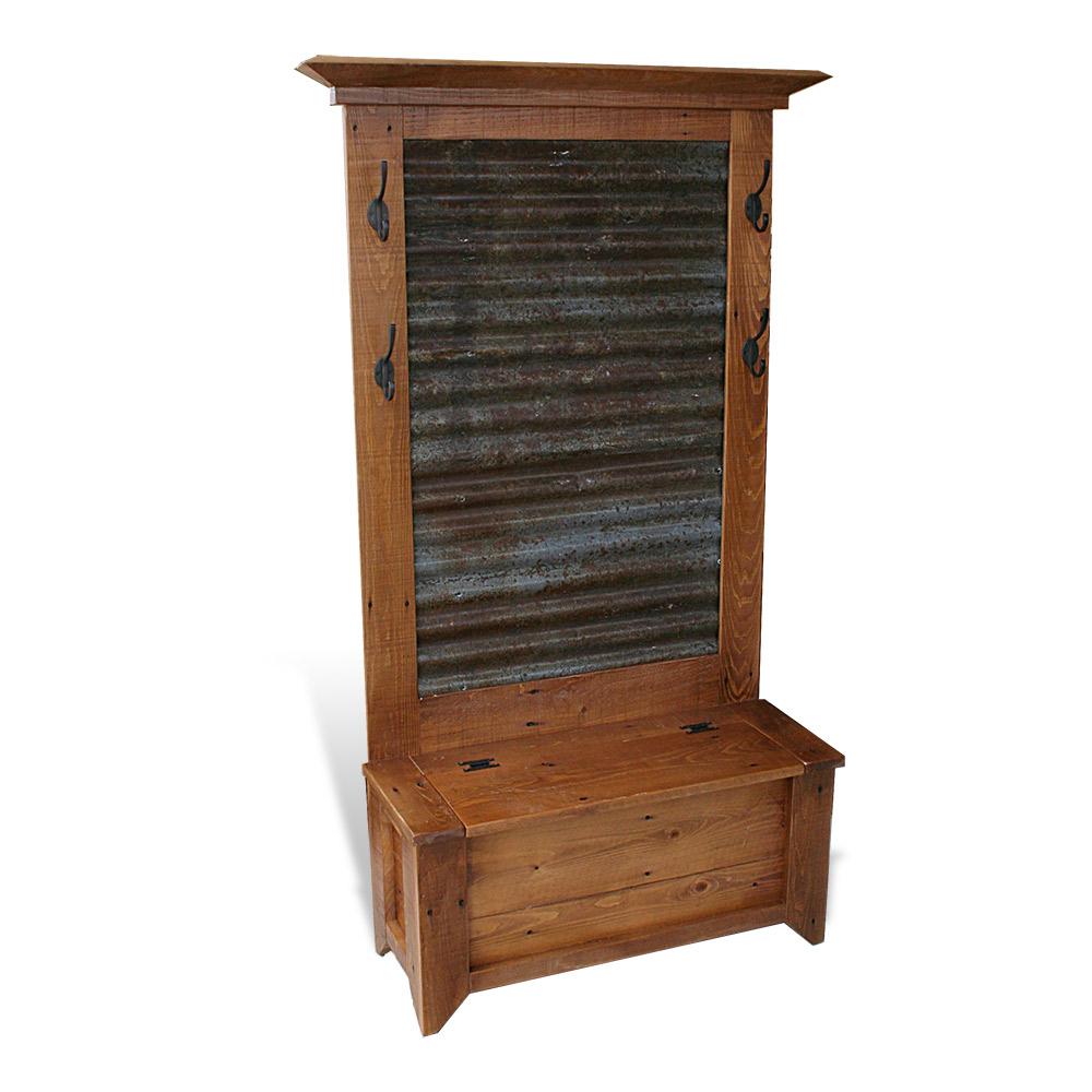 Rustic Acadiana Hall Tree W Tin All Wood Furniture