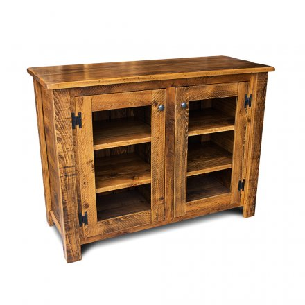 Rustic Storage Cabinet W Glass Doors