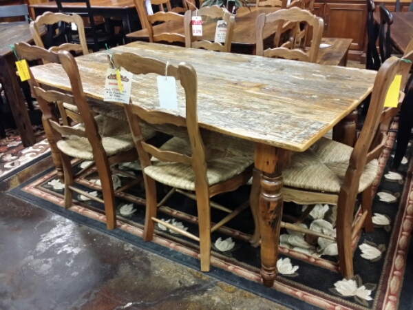 6′ Antique Cypress Turned Leg Table @ UL Store UL-02 SOLD