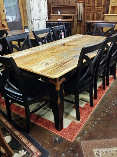 7′ Antique Giant Fleur De Lis Pine Table @ UL Store UL-03  SOLD