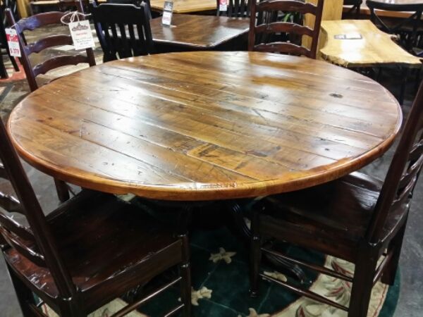 "60"" Round Antique Pine Table @ UL Store UL-06  SOLD"