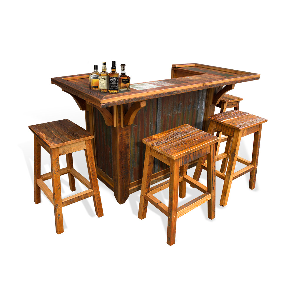 Barnwood Bar With Tin - Barnwood bar table