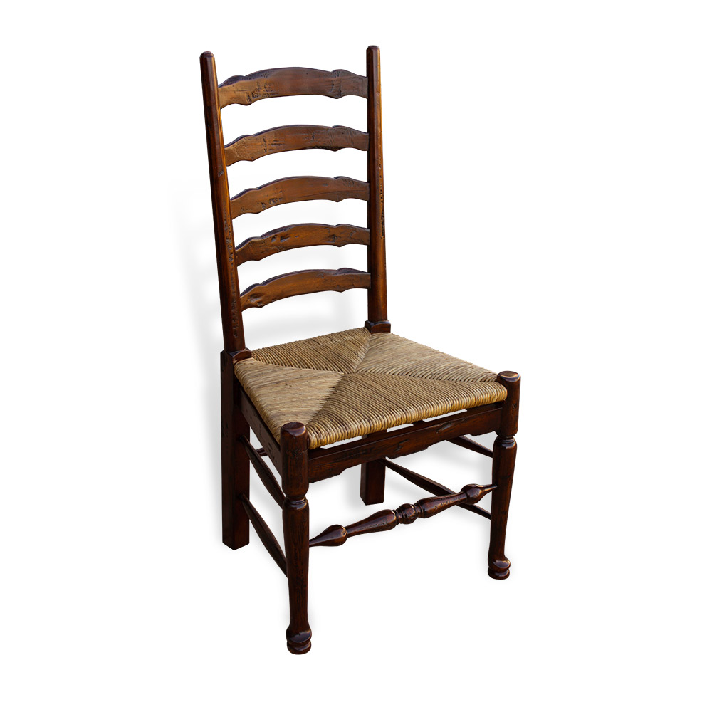 Rich Tobacco French Chair W Rush Seat 28730QC