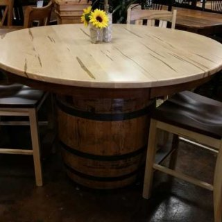 Tiger Maple Barrel Table & 4 Stools Set @ UL Store UL-61 SOLD