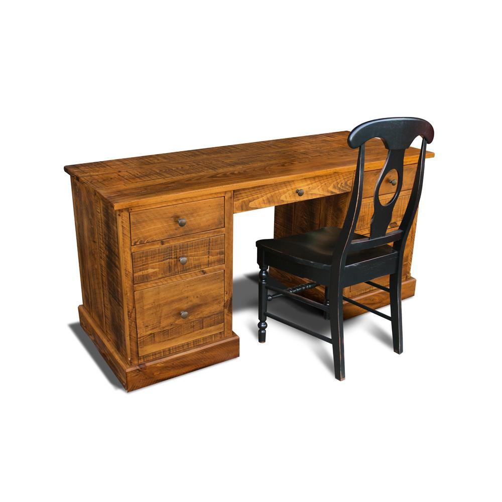 All Wood Office Desk: A101 Rustic Desk