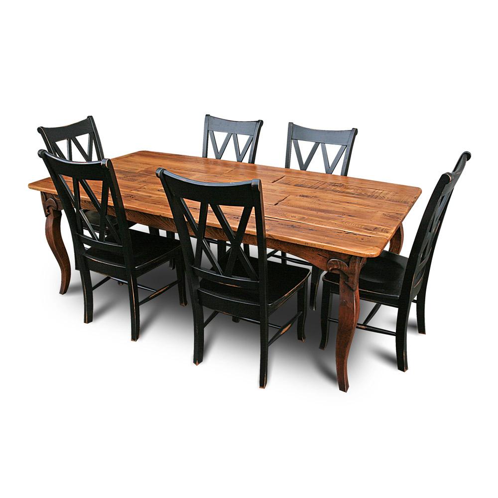 fleur de lis table w split plank top. Black Bedroom Furniture Sets. Home Design Ideas