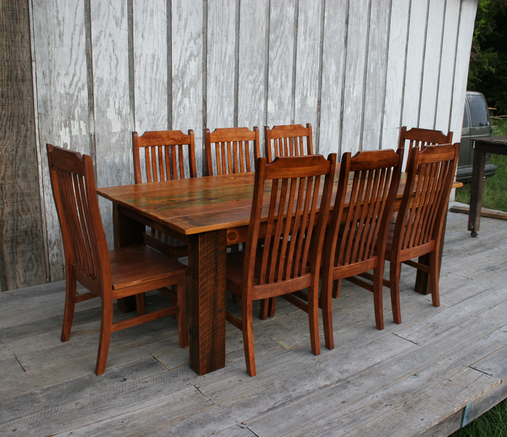 barnwood beam leg table w bench