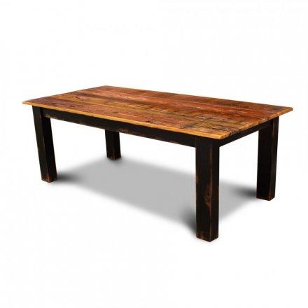 Barnwood 4x4 Block Leg Table w/ Black Antique Base