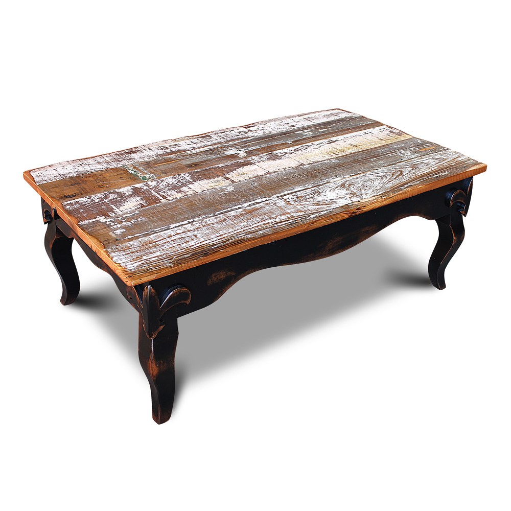 fleur de lis coffee table w barnwood top. Black Bedroom Furniture Sets. Home Design Ideas