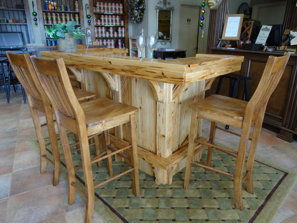 6u0027 Pecky Cypress Saloon Bar @ Baton Rouge BR 31 In Stock   ALL Wood  Furniture