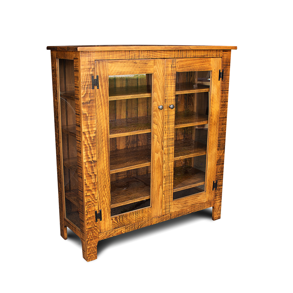 Rustic Storage Cabinet W Glass Doors No 2