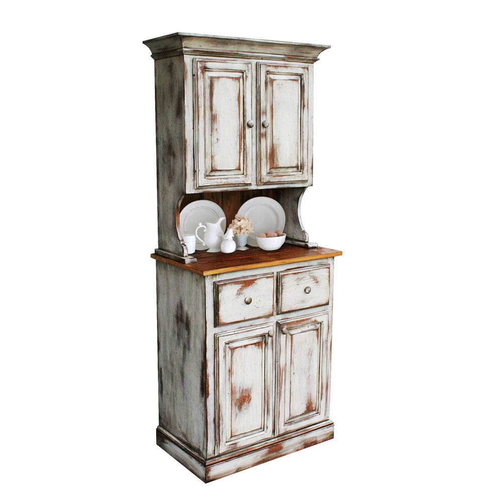 Rustic Antique White Hutch