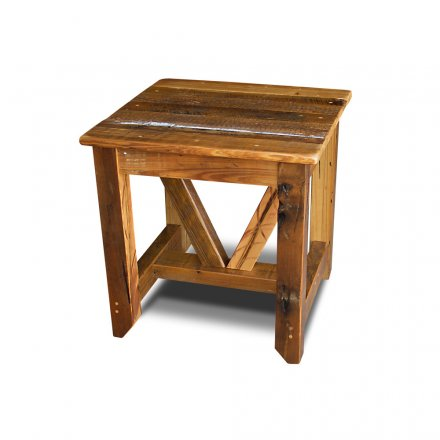 Industrial Timber End Table