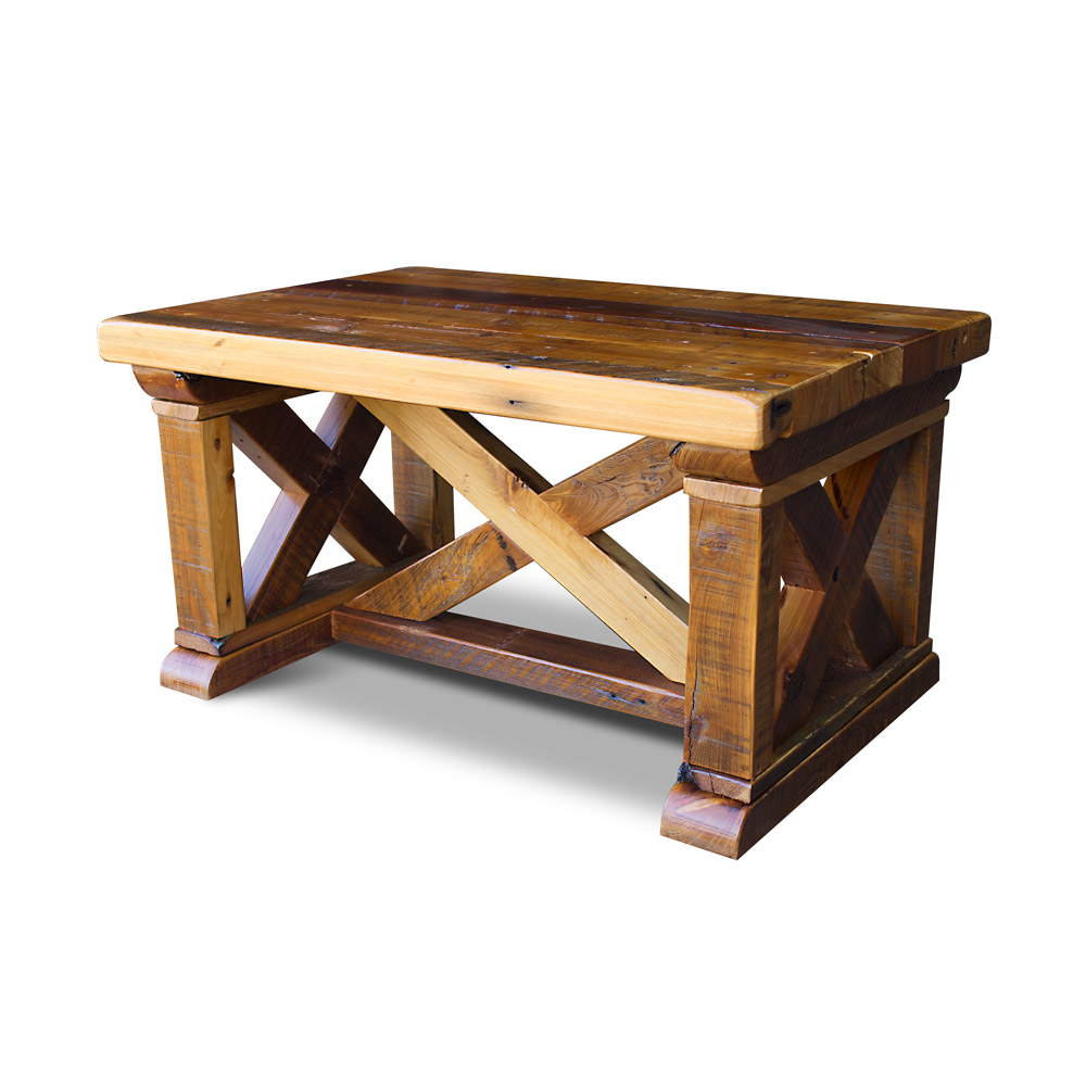 Vintage x barnwood coffee table for X coffee tables