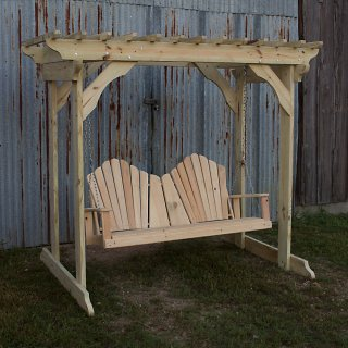 Treated Pine Arbor w Adirondack Swing