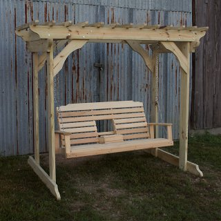Treated Pine Arbor w Console Swing