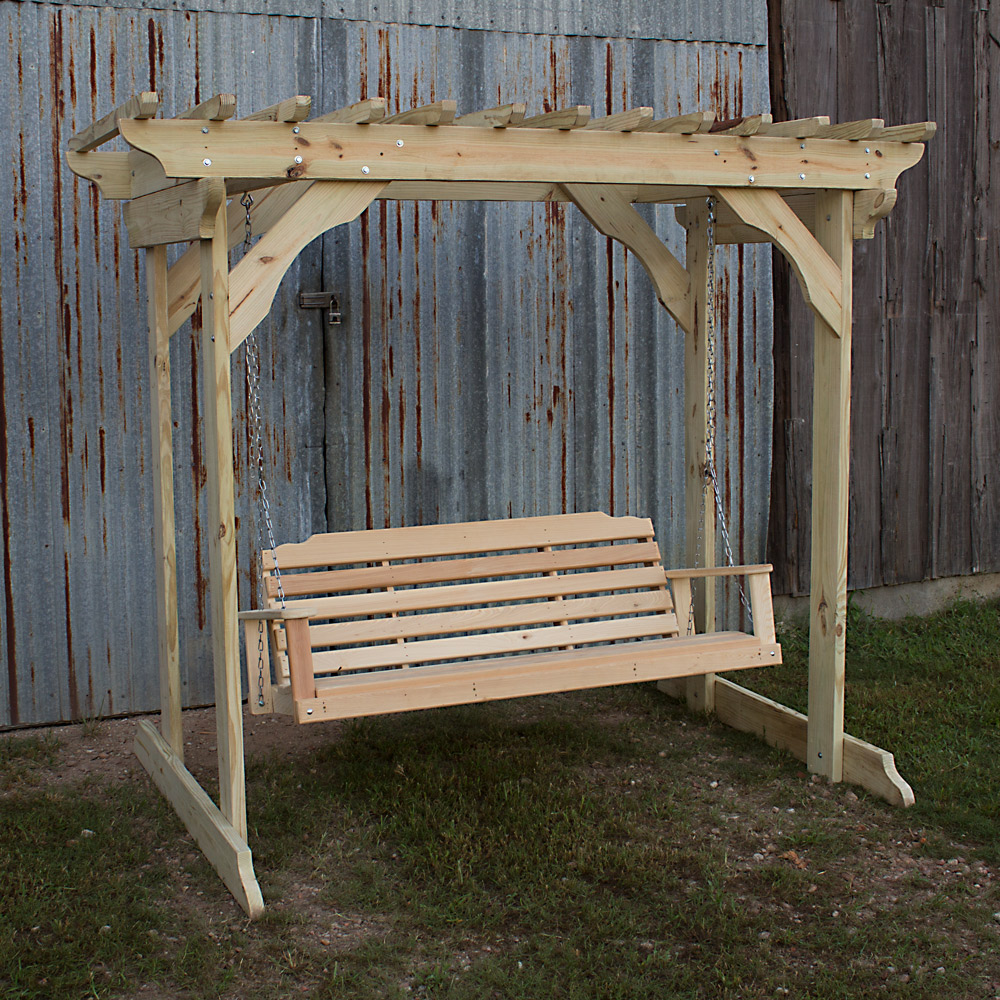 Treated Pine Arbor W Garden Swing