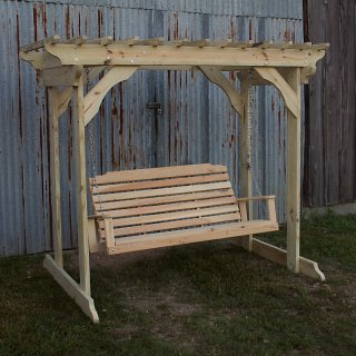 Treated Pine Arbor w Lumbar Swing