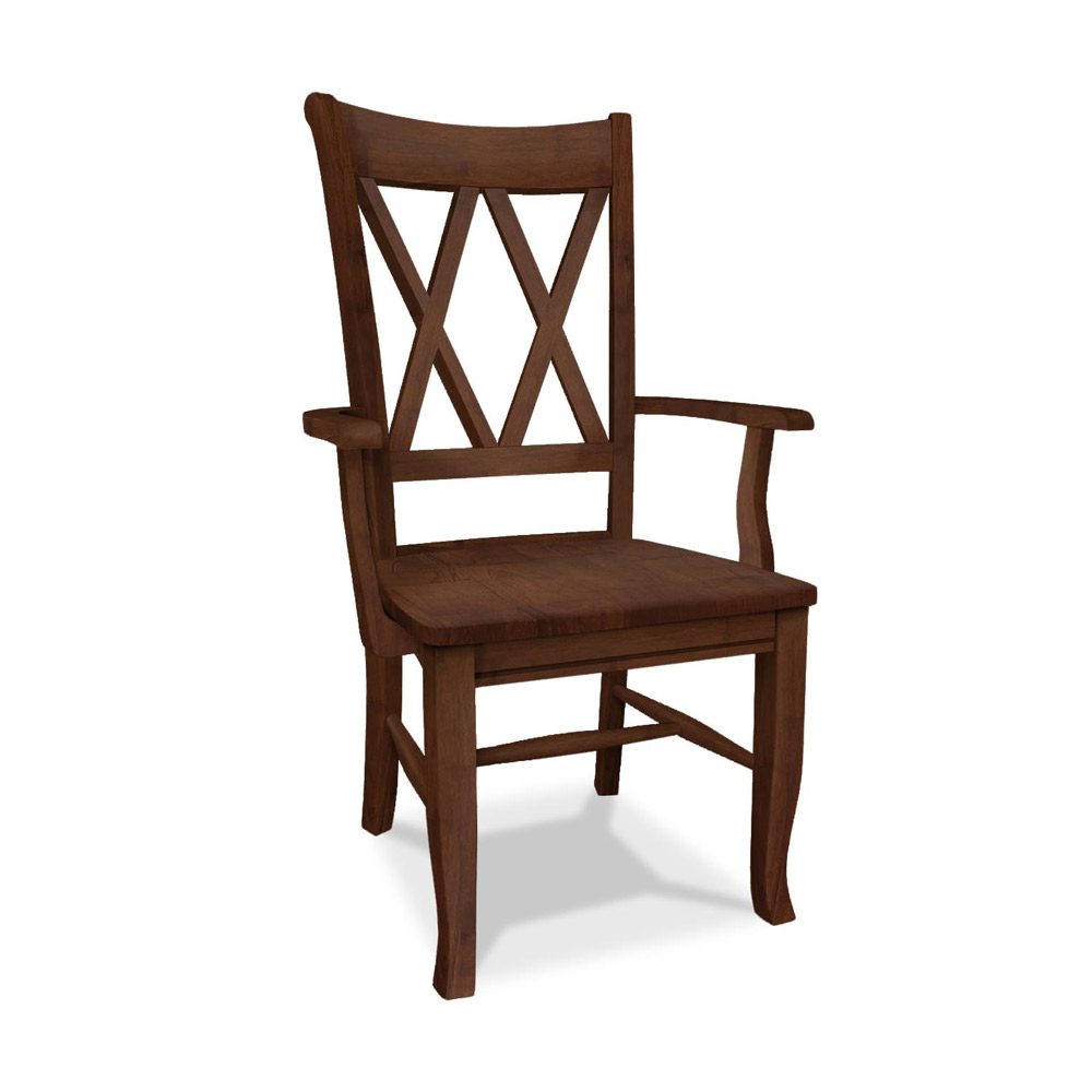 All Wood Dining Room Chairs: Double X Back Arm Chair C-20AB