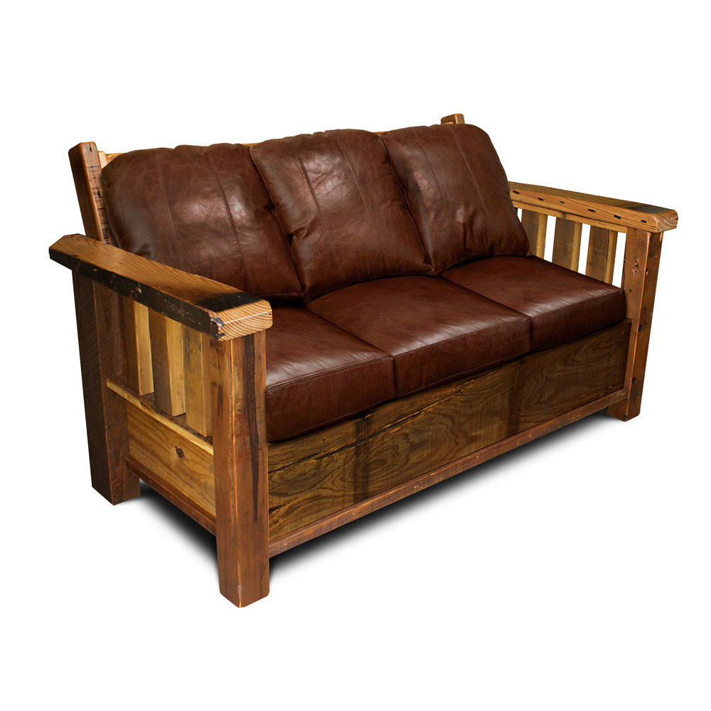 All Wood Sofa ~ Rustic barnwood sofa
