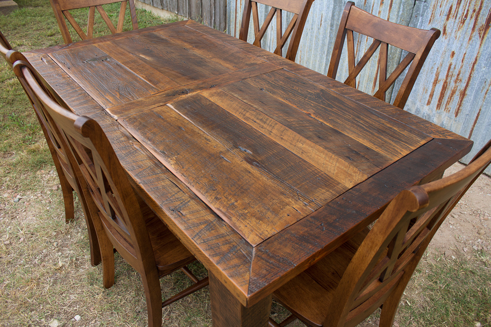 Barnwood Beam Leg Barn Door Table