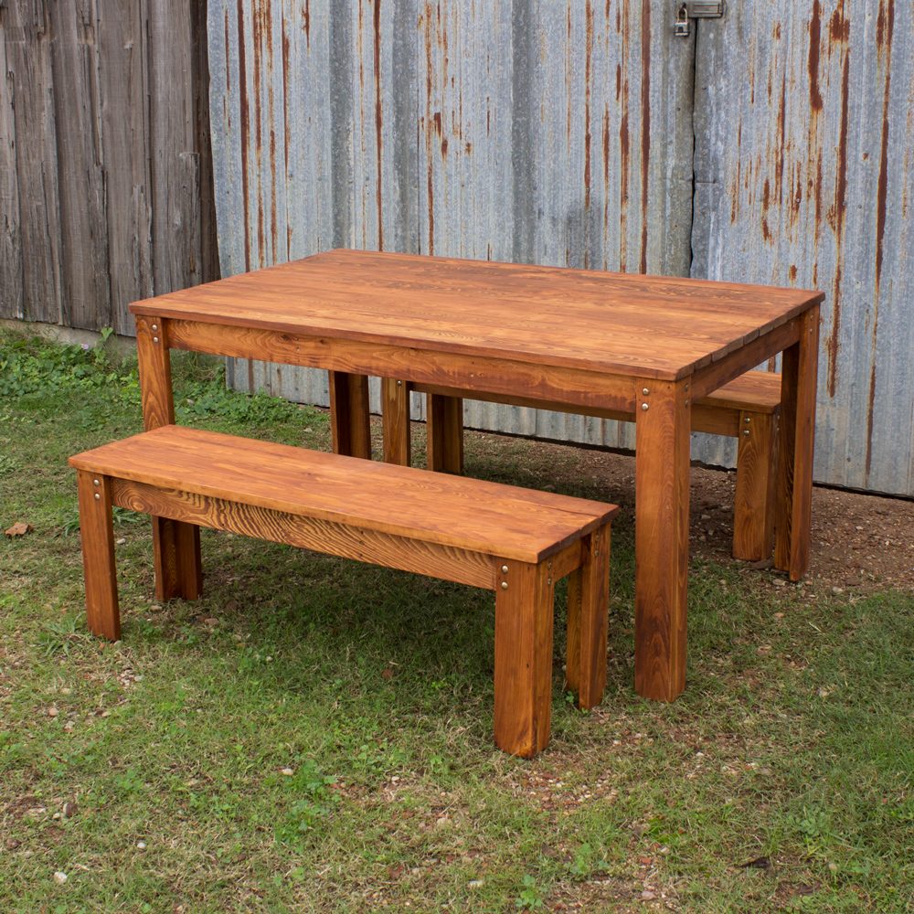 carencro style outdoor table and benches. Black Bedroom Furniture Sets. Home Design Ideas
