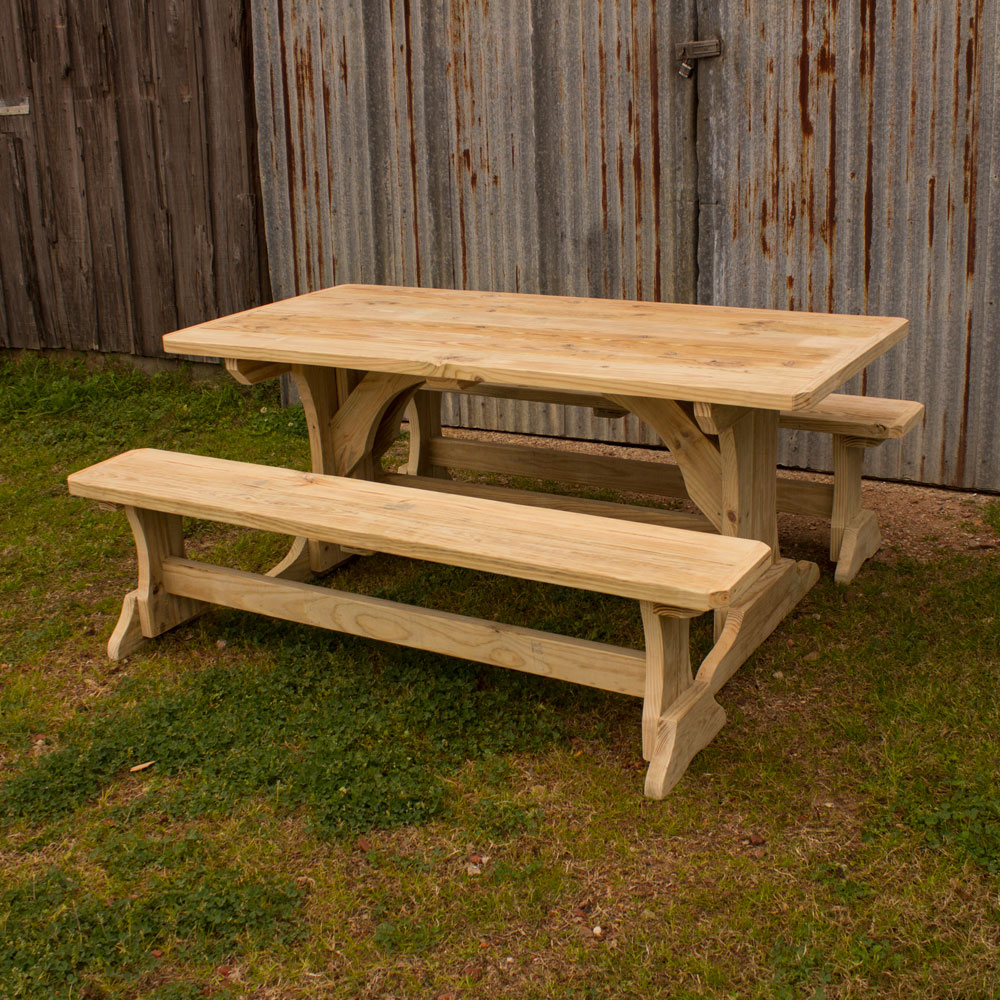 Trestle patio table w 2 benches watchthetrailerfo
