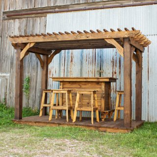 Treated Pine Mini Pergola w Pine Bar