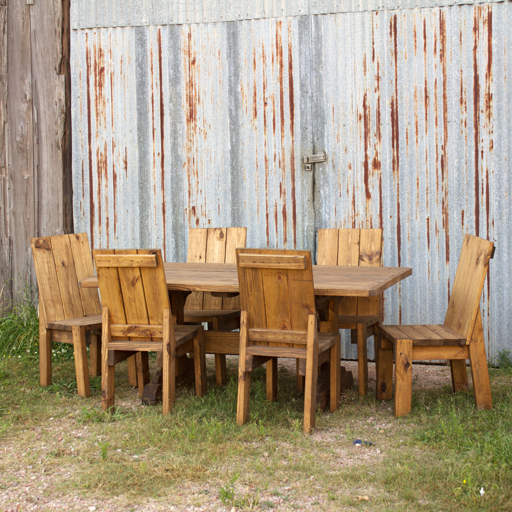 Outdoor Treated Pine Trestle Table & Pine Trestle Table and Chairs