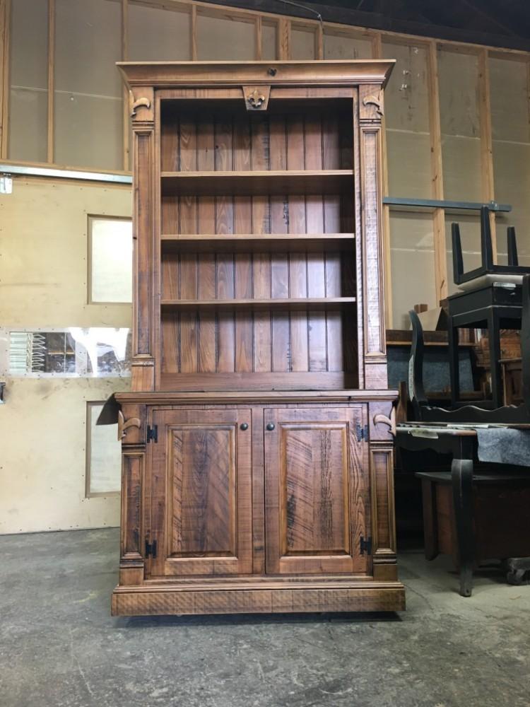 2 Pc Fleur De Lis Bookcase All Wood Furniture
