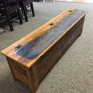 Barnwood Bench in Natural w/ Storage @ Baton Rouge BR-247 SOLD