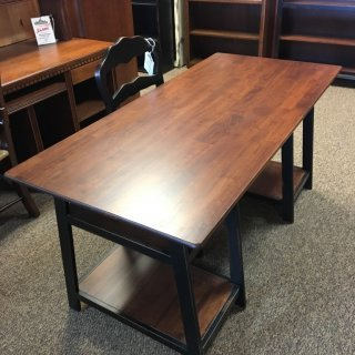 Loft Desk Parawood in Coffee w/ Black Antique Base @ Baton Rouge BR-255 SOLD