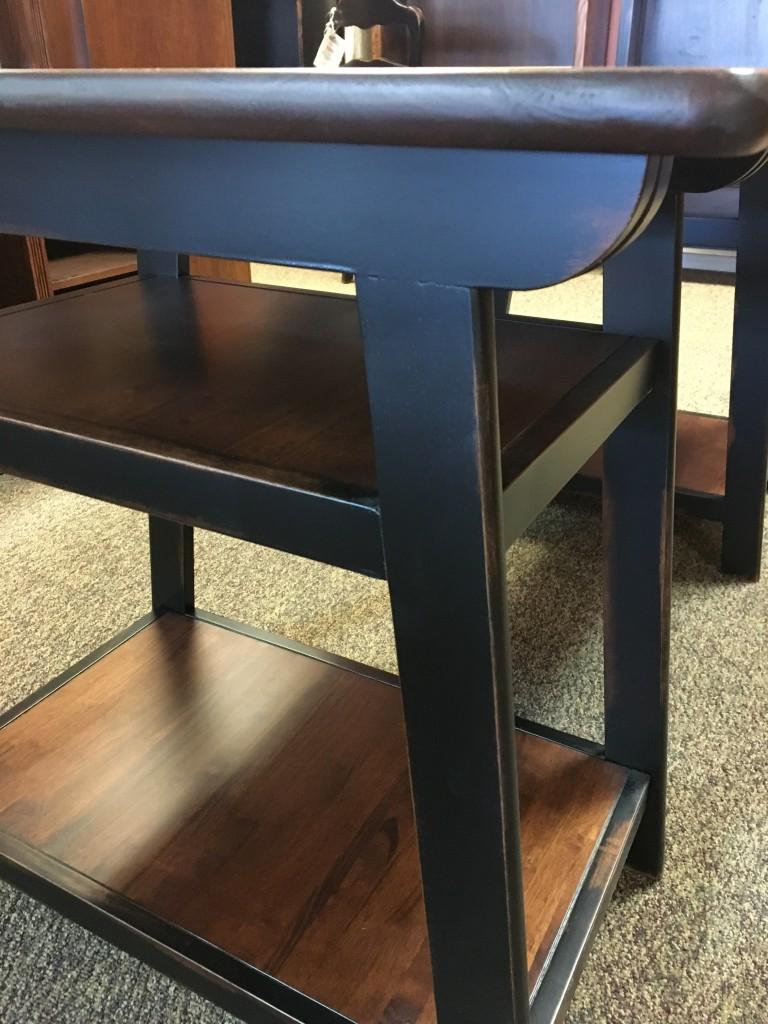 Loft Desk Parawood In Coffee W Black Antique Base Baton