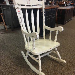 Deleuxe Carved Back Rocker in Antique White @ Baton Rouge in Stock BR-259