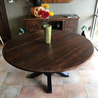 60″ Rough Sawn New Cypress Pedestal Table in Coffee w/ Cigar Base in Antique Black @ Baton Rouge BR-261 SOLD