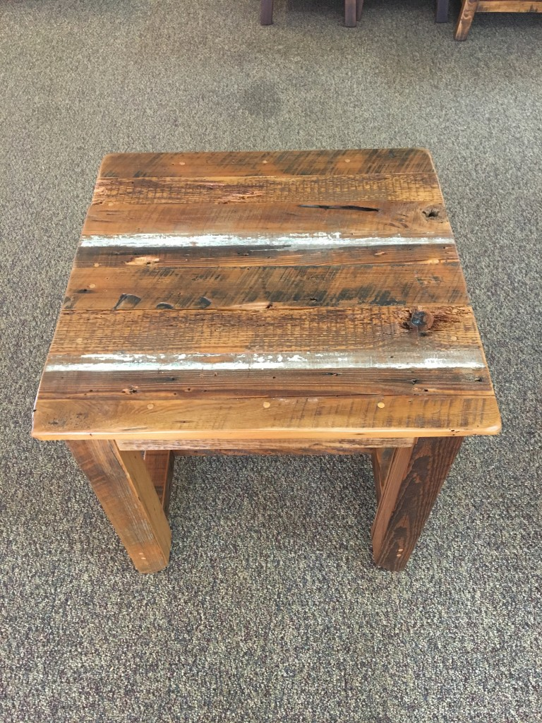 Industrial Timber V Beam Cypress Barnwood End Table In