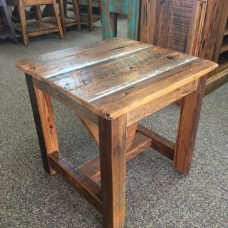 Industrial Timber V Beam Cypress Barnwood End Table in Natural Barnwood @ Baton Rouge in Stock BR-262