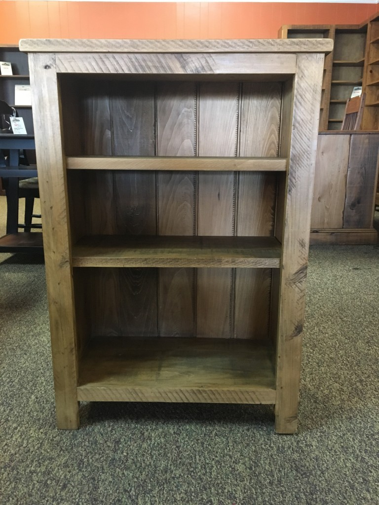 New Cypress Shaker Bookcase in Rustic Pine Wax Baton