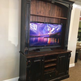 Rough Sawn New Cypress Fleur de Lis Entertainment Center in Coffee w/ Antique Black Base @ Baton Rouge BR-211 SOLD