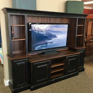 New Cypress Heritage Widescreen TV Stand in Coffee w/ Antique Black Base @ Baton Rouge in Stock BR-269