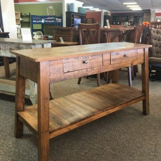 Rough Sawn New Cypress Bombay Sofa Table in Whisky @ Baton Rouge BR-270 SOLD
