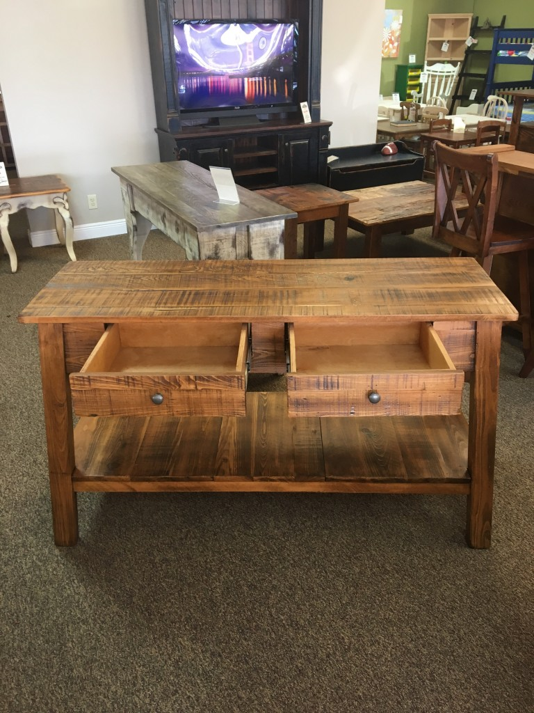 Rough Sawn New Cypress Bombay Sofa Table in Whisky Baton