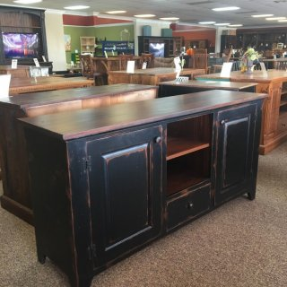 New Cypress Shaker TV Stand in Coffee w/ Black Antique Base @ Baton Rouge BR-273 SOLD