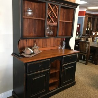 New Cypress Buffet & Hutch w/ Wine Storage in Coffee w/ Antique Black @ Baton Rouge SOLD BR-274