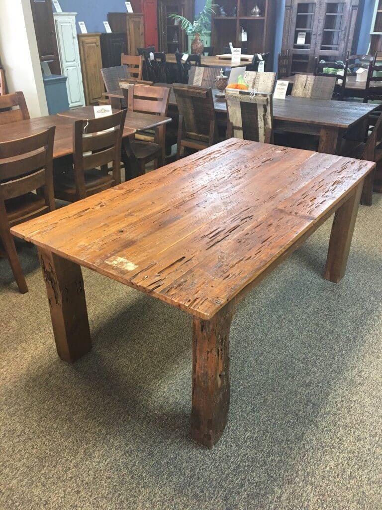 Gnarly Pecky Cypress Barnwood Table W 4 X 4 Beam Legs