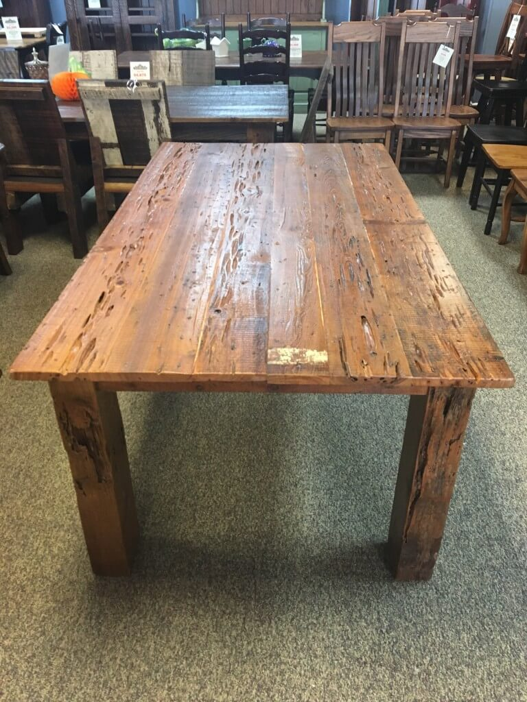Gnarly Pecky Cypress Barnwood Table W/ 4u2033 X 4u2033 Beam Legs In Natural  Barnwood @ Baton Rouge BR 278 SOLD