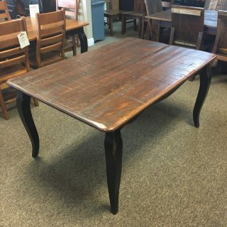 Rough Sawn New Cypress French Table w/ 2 18″ Company Boards in Coffee w/ Antique Black Base @ Baton Rouge BR-277 SOLD