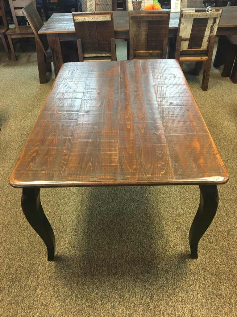 Rough Sawn New Cypress French Table W 2 18 Company Boards In Coffee W Antique Black Base